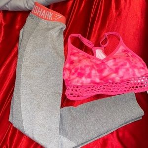 NWT Gymshark & VS pink Bra & leggings pink gym set